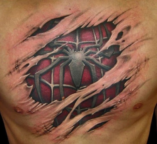spider man tatoo on chest