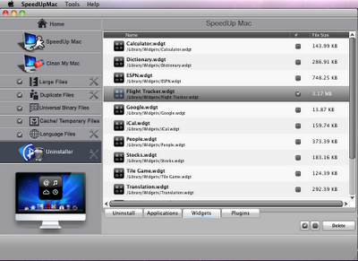 Remove unwanted widgets and plugins in Mac