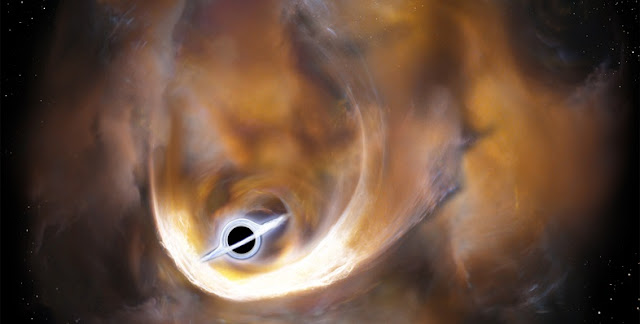 Artist's impression of the clouds scattered by an intermediate mass black hole. Credit: Tomoharu Oka