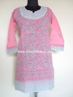 Multi Colour Chikankari Embroidery  on Long Kurta