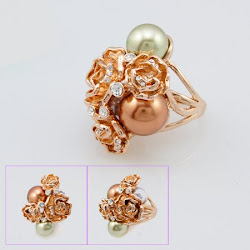 A Rose Pearl Rose Gold Plating Rhinestones Ring