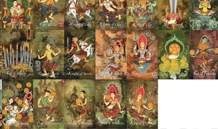 4HK Tarot The Four Kings Tarot Heavenly Thai tarot ไพ่ทาโร่ต์ไทย จตุโลกบาล ทาโร่ท์ จาตุมหาราช ทาโรต์ ทาโร่ minor major arcana cards art tarot buddha