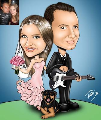noivo com guitarra caricatura
