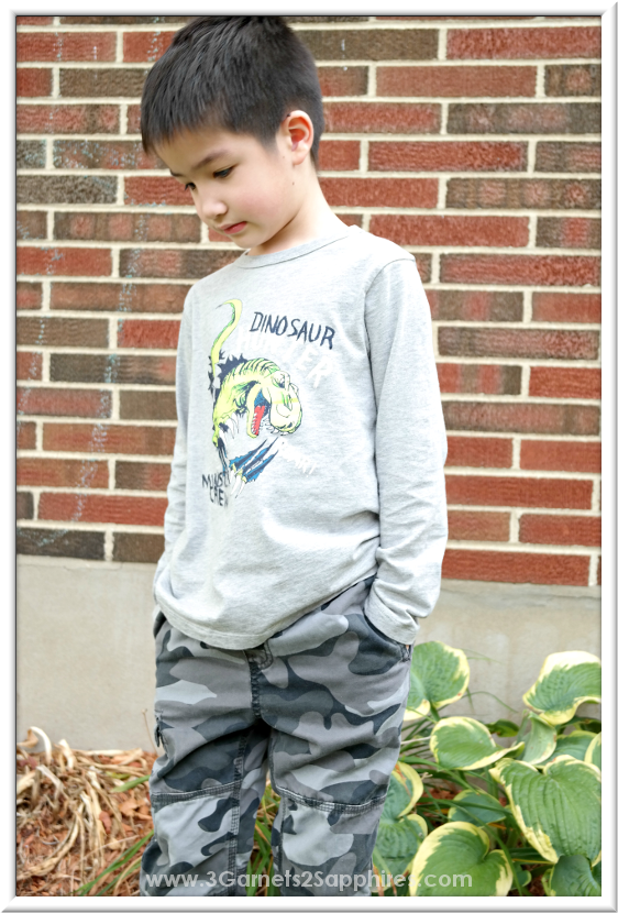 OshKosh back-to-school dino graphic tees and camo cargo pants for boys #OshKoshFirstDay | www.3Garnets2Sapphires.com