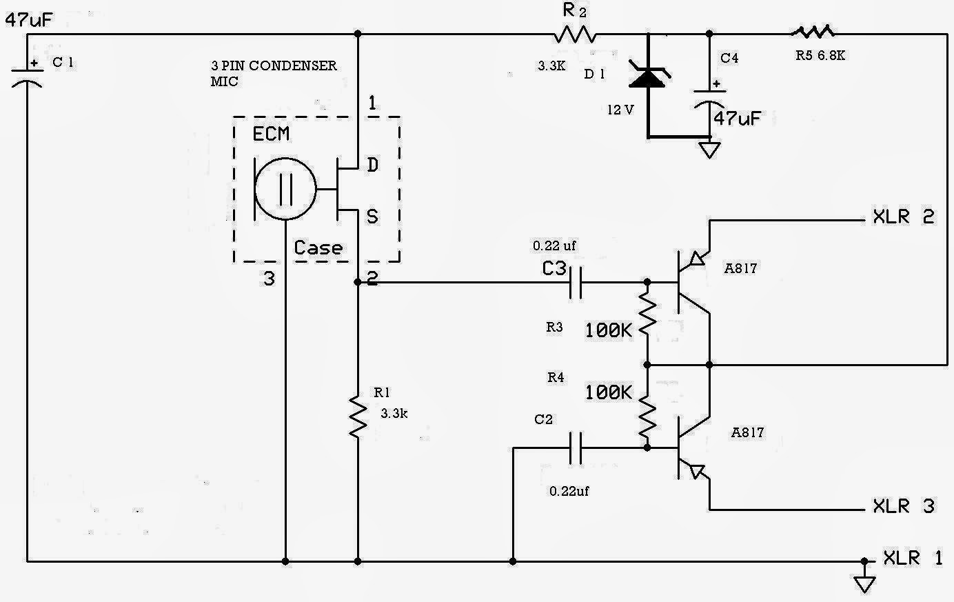 Diy Condenser Mic Harp Schematic Wiring Diagram Preamp Microphone Circuit 3 Pin Used In Mixer