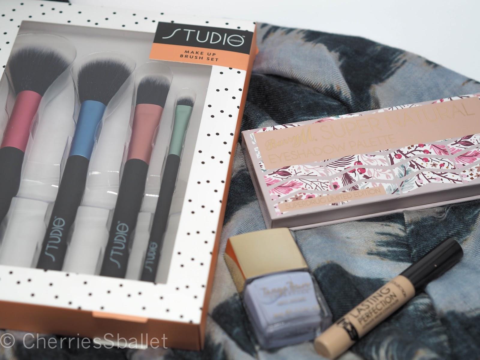 Studio London Make Up Brushes, Barry M Super Natural Superdrug Exclusive Palette, Tanya Burr