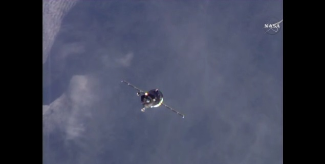 Progress MS-1 spacecraft approaching ISS. Credit: NASA TV