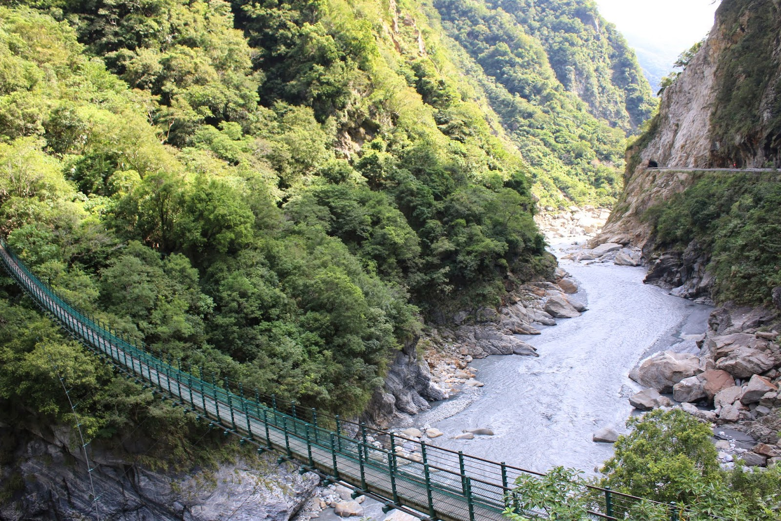 Another close shot of Liwu River with the suspension bridge at Swallow Grotto at Taroko Gorge National Park in Hualien, Taiwan before leaving the trail