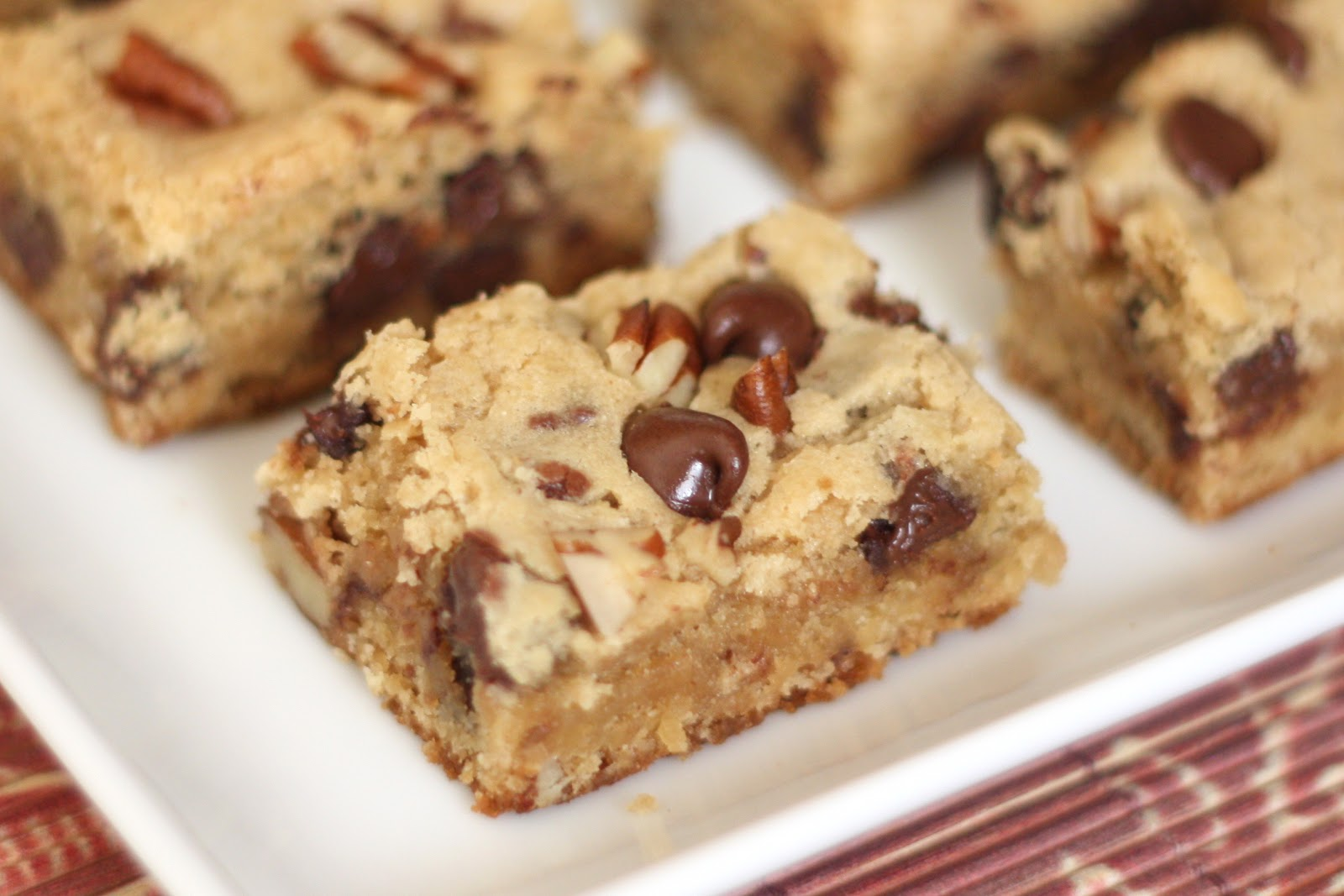 Barefeet In The Kitchen: Chocolate Chip Pecan Blondies {traditional ...