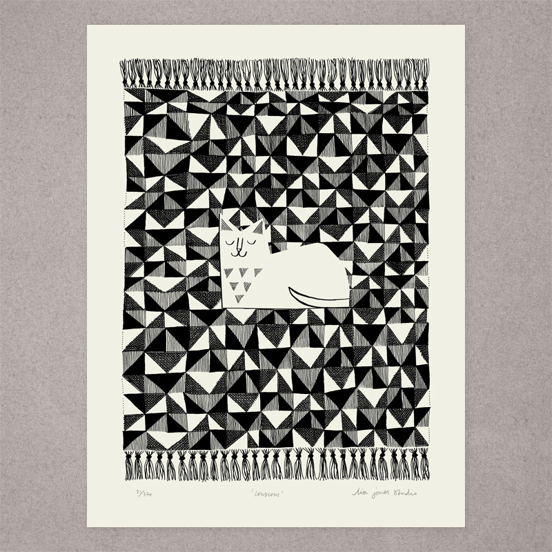 One-colour screen-printed illustration of cat on patterened kilim rug