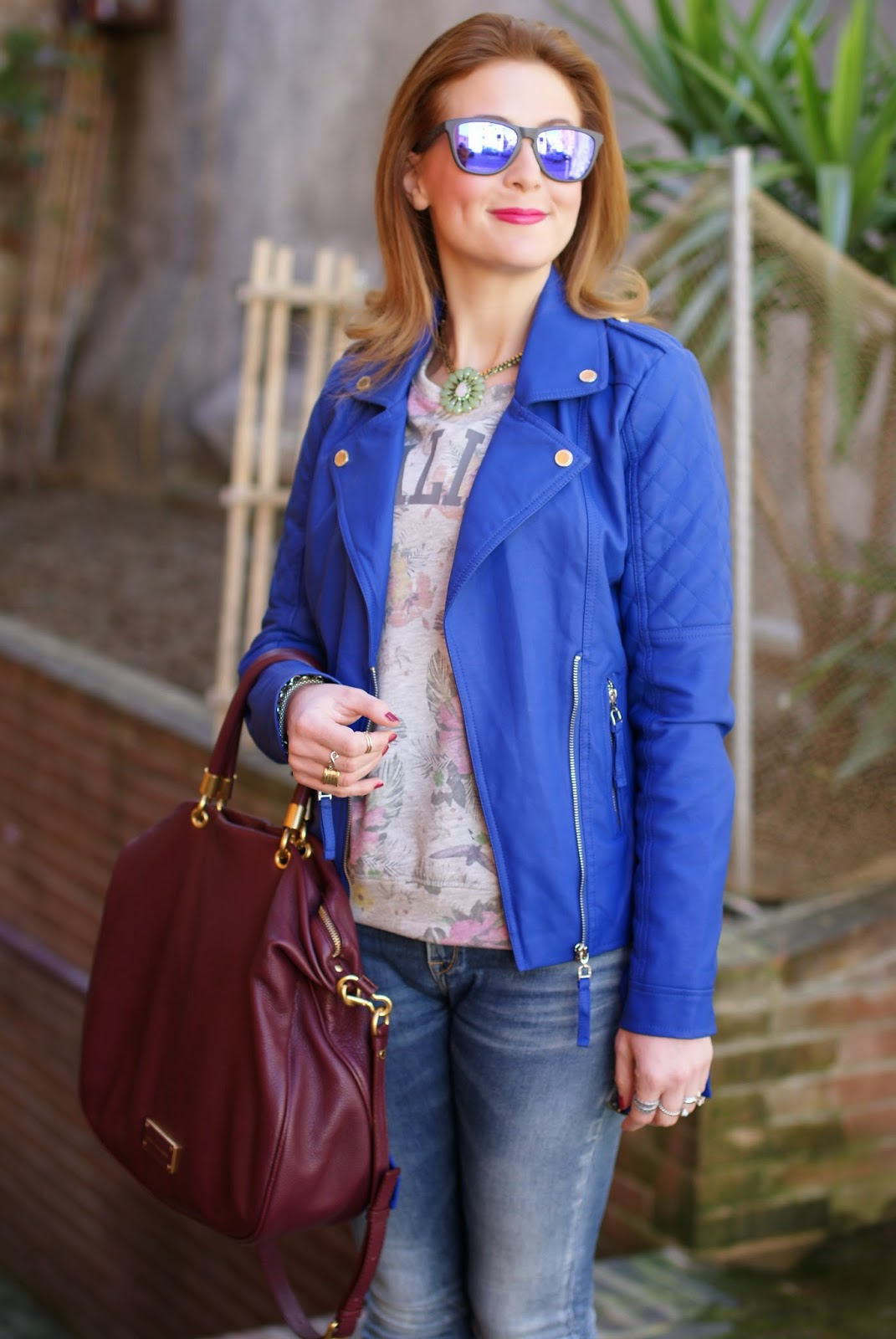 Morgan blue biker jacket, Sodini bijoux collana, Fashion and Cookies, fashion blogger