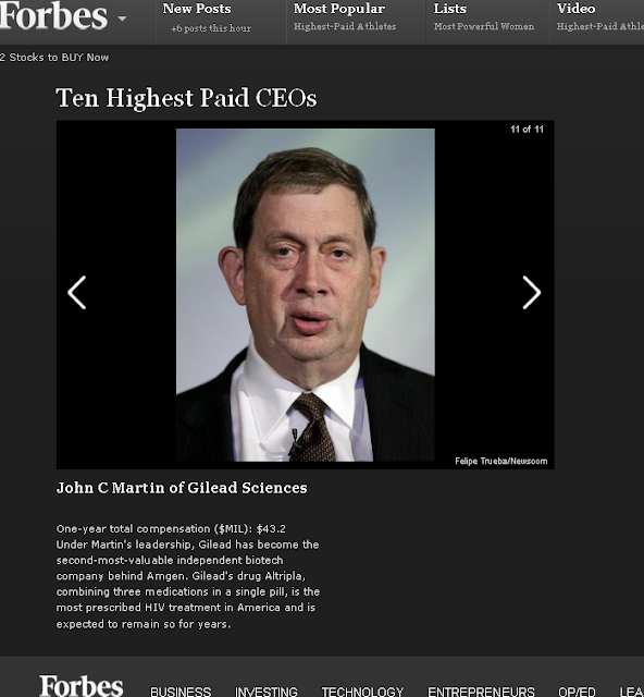 John C. Martin, Gilead Sciences #10 recently moved to #1