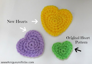 purple yellow and green crochet hearts