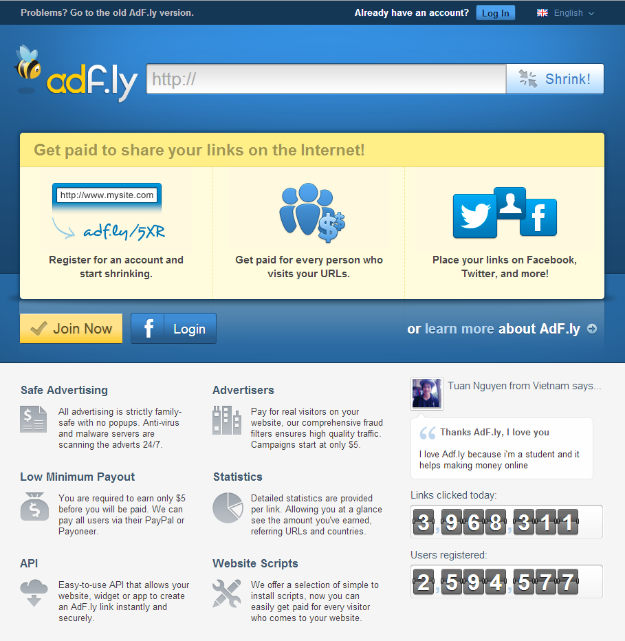 Adf.ly Homepage