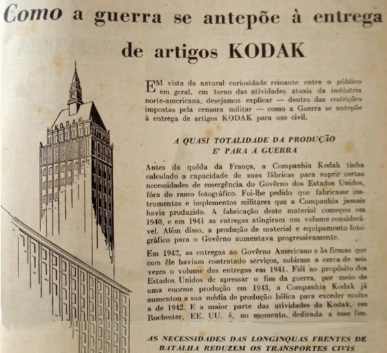Propaganda da Kodak em 1943 para justificar a falta de equipamentos no mercado para atender a Segunda Guerra Mundial.
