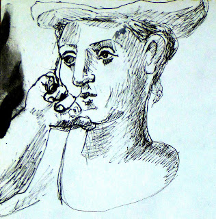 pencil sketch of Picasso painting by artist jane Bennett