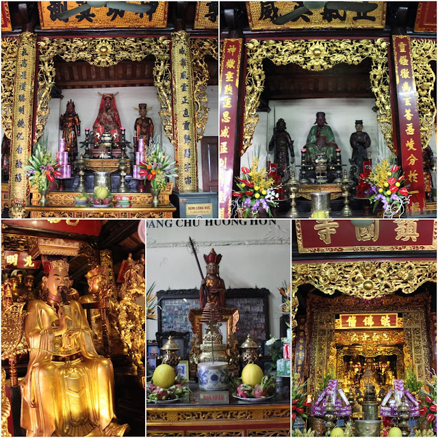 Worship Buddhist Statues at Tran Quoc Pagoda in Hanoi, Vietnam
