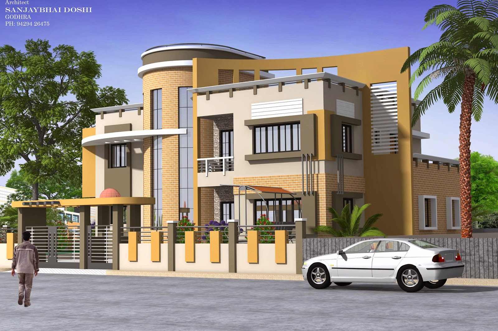 Fantastic house elevation rachana architect for Architecture design for home in vadodara