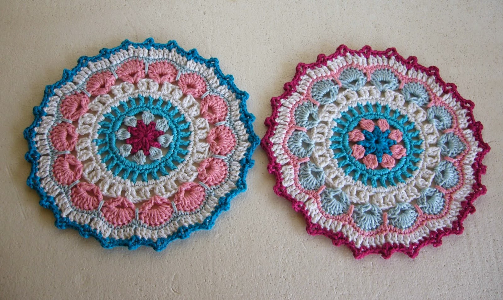Twin crochet mandalas