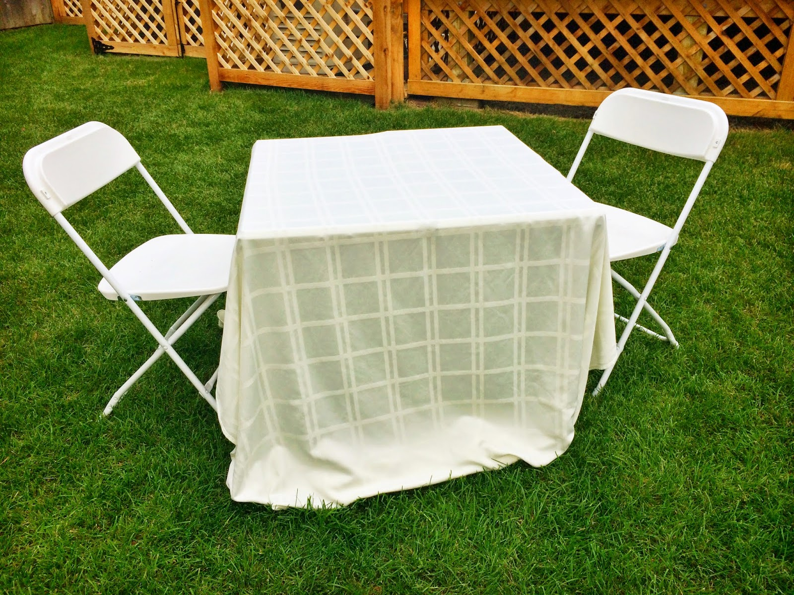 Dîner en Blanc table and chairs | all dressed up with nothing to drink...