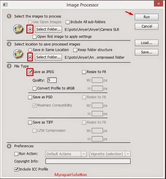 image processor menu dialog