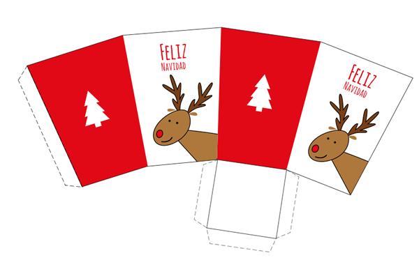 Caja imprimible de navidad con dibujo de reno