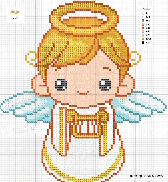 Angel dela guarda en punto de cruz para imprimir - Imagui