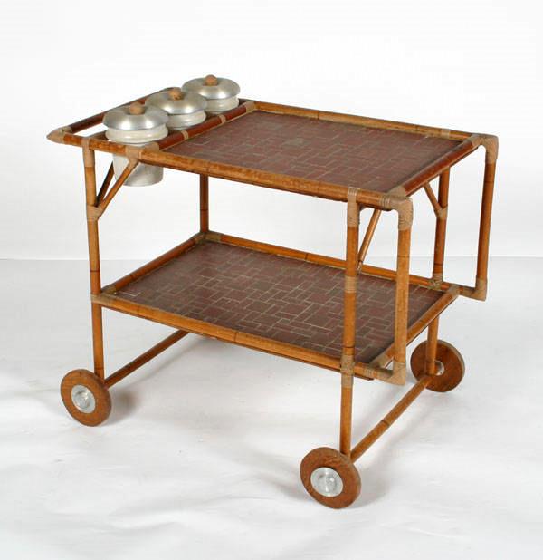 Rattan Tea Cart With Spun Aluminum Canisters Antiquehelper.com