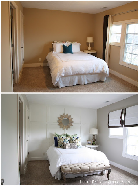 Before and After Bedroom with White Board and Batten Grid Wall