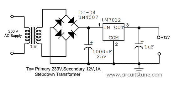 12v regulated power supply circuit diagram circuitstune rh circuitstune com power supply circuit diagram pdf power supply circuit diagram using 7812
