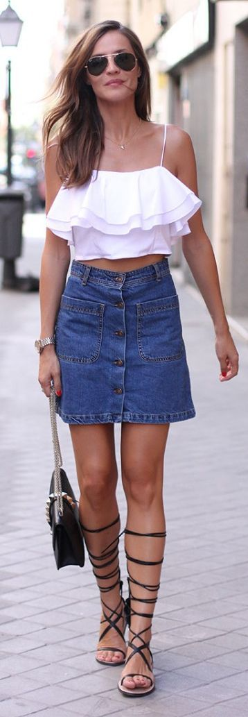 White crop top with denim skirt