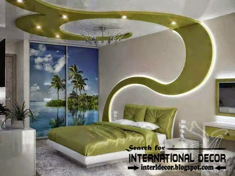 Modern bedroom ceiling ideas and drywall with led lights for Bedroom gypsum ceiling designs photos