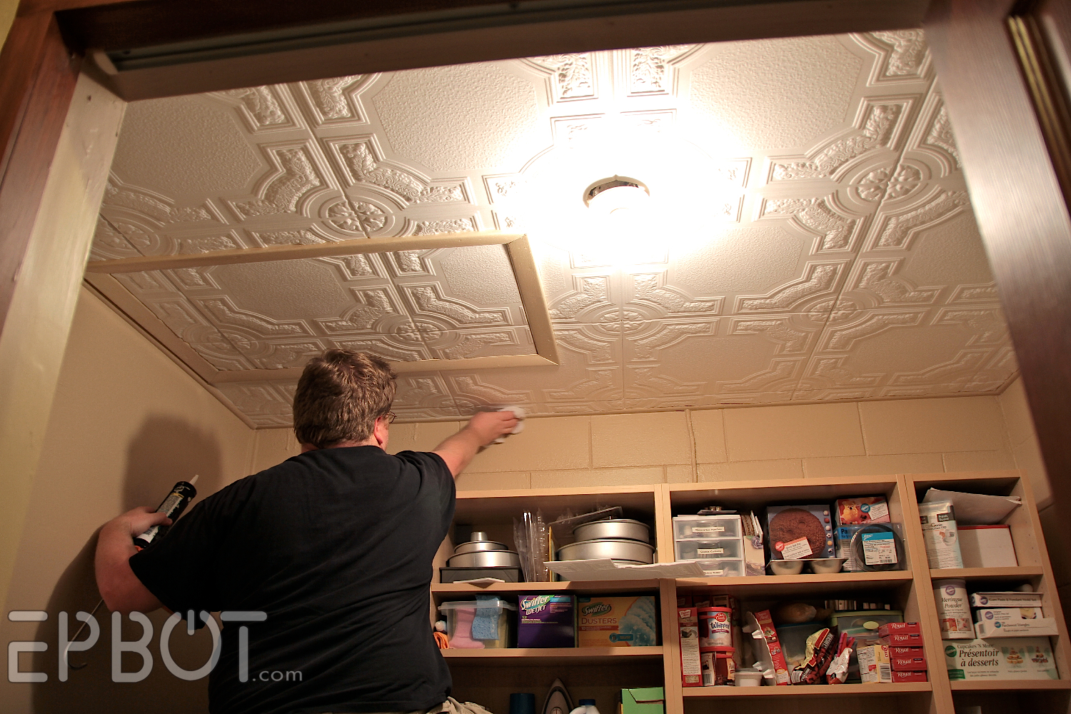 ... odd corners, John was able to finish the ceiling in just a few hours