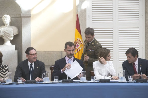 Spanish Royals Attend A Meeting With Members Of 'Princesa De Asturias' Foundation