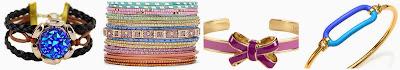 Romwe Colorful Crystal Black Wave Bracelet $0.99 (regular $4.95)  Decree 19 pc Bangle Set $10.50 (regular $15.00) similar  Vera Bradley Petite Bow Cuff Bracelet $26.60 (regular $38.00)  Marc Jacobs Enameled Bubble Hinge Cuff Bracelet $40.60 (regular $58.00)