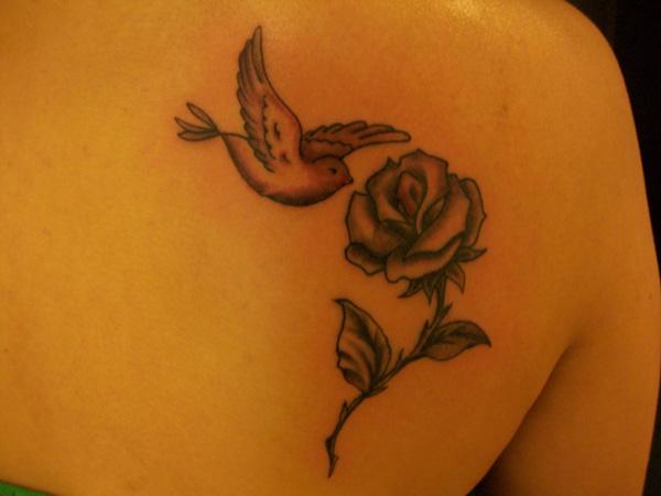 Bringtvback dove tattoos designs on upper back girls for Dove and rose tattoo
