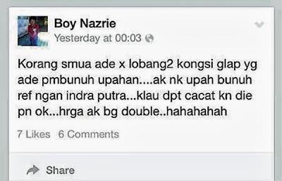Indra Putra Diugut Bunuh Di Facebook, penyokong JDT ugut bunuh Indra Putra Di Facebook