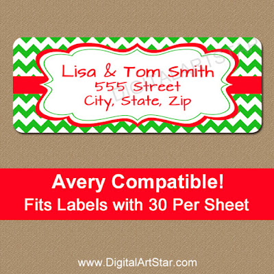 Digital Christmas Address Labels