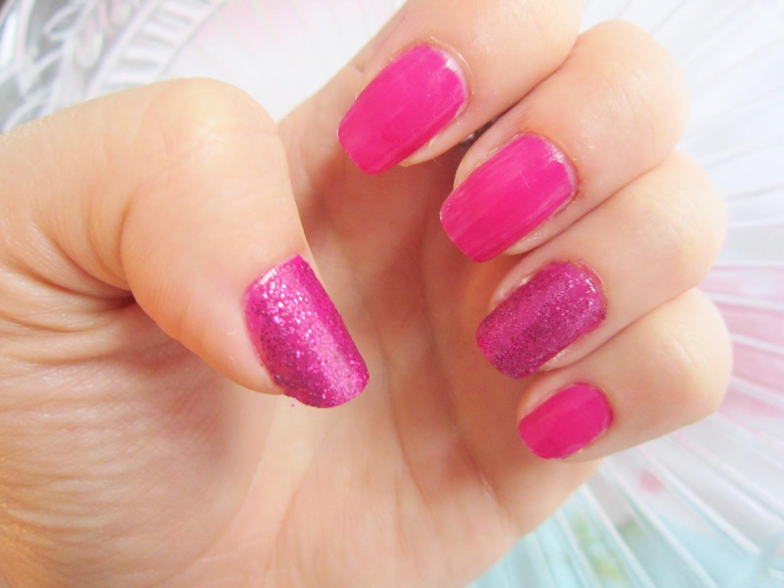 Models Own Magenta Devine & BeautyUK Mauve Flash Glitter Nails ...