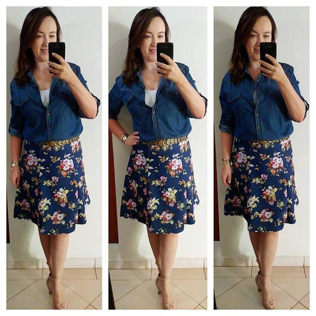 saia ladylike, saia estampada floral, estampa floral, camisa jeans, camisa jeans com saia, lojas renner, carmen steffens, blog de moda em ribeirão preto, fashion blogger em ribeirão preto, blog camila andrade