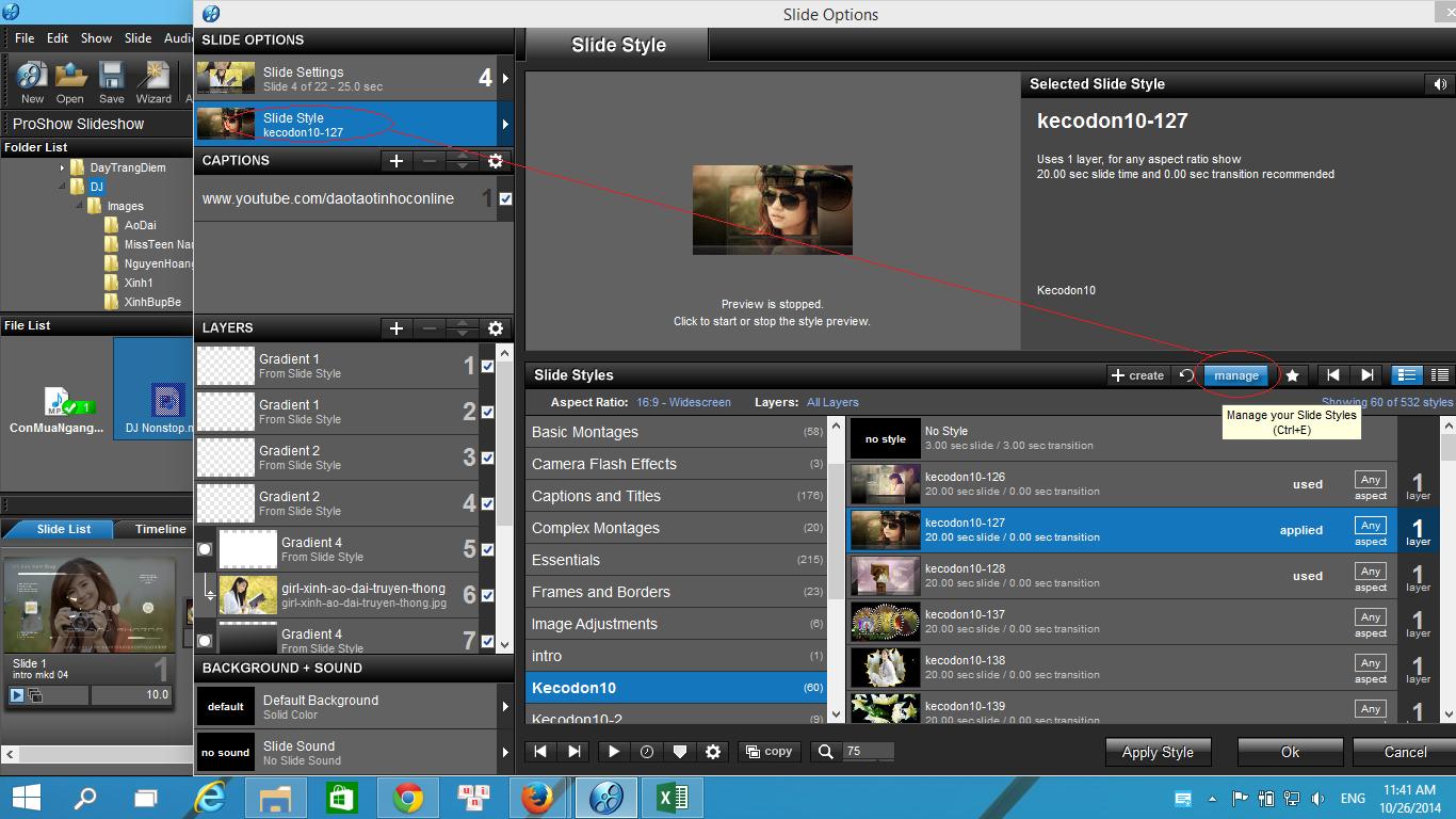 Hướng dẫn cách add style vào phần mềm Proshow Producer