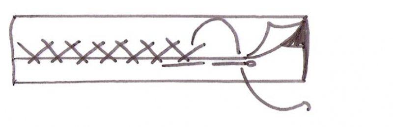 Оборка из атласной ленты или косой бейки