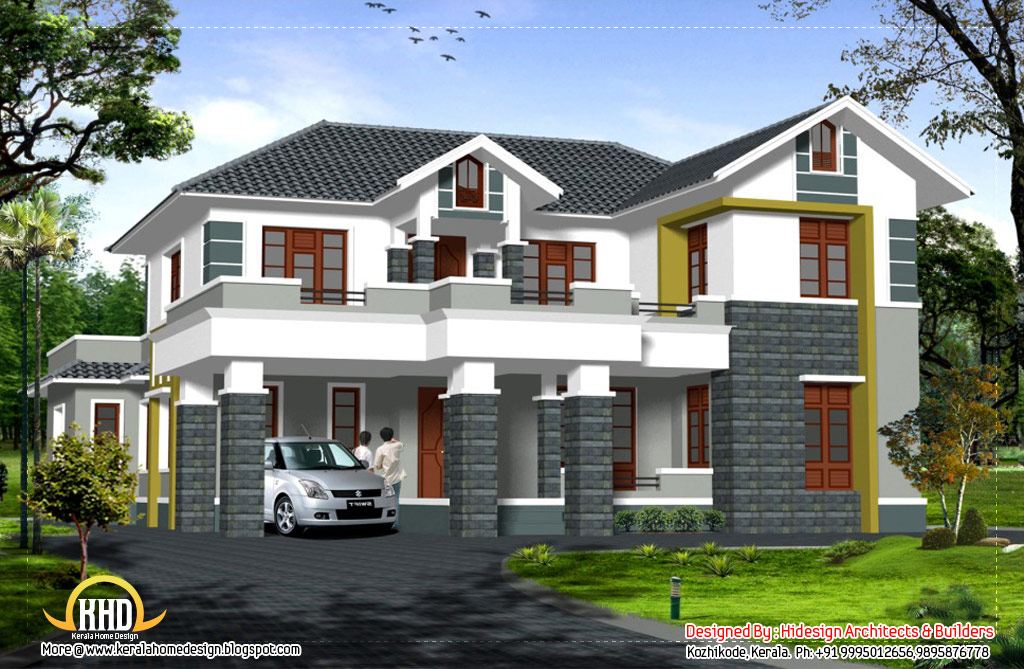 Sloping Roof 2 Story Home 2907 Sq Ft Kerala Home