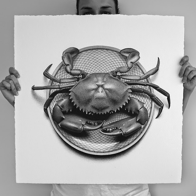 20-Mud Crab-C-J-Hendry-Hyper-Realistic-Drawings-of-Food-www-designstack-co