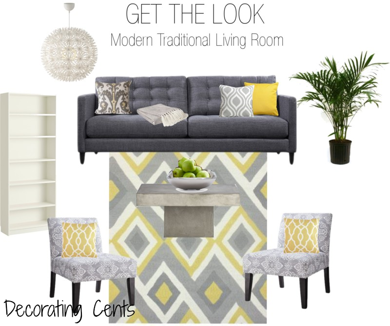 Decorating Cents Get The Look Modern Traditional Living Room