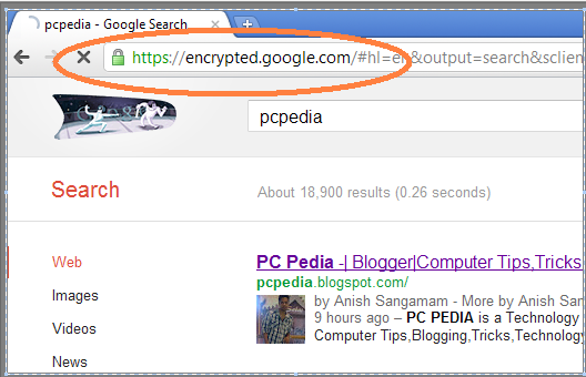 encrypted google search example