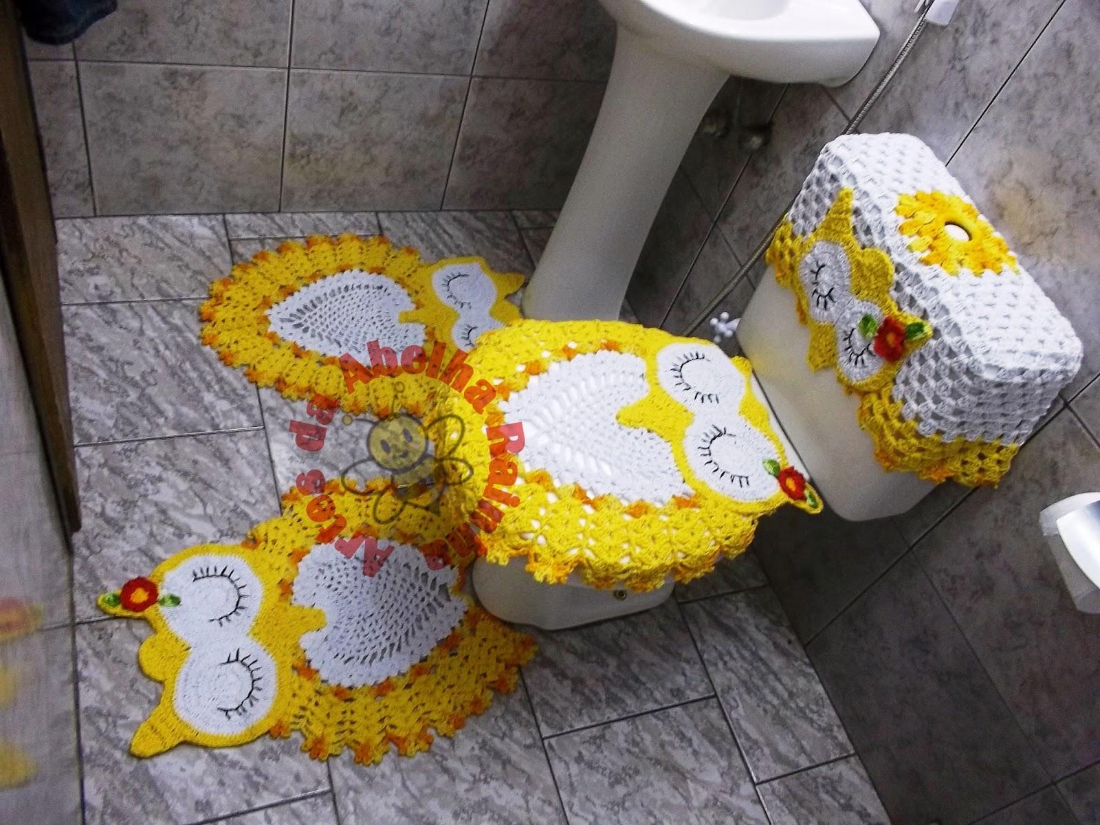 Abelha Rainha: Jogo de banheiro corujas dorminhocas (amarelo e branco #BA8F11 1600x1200 Banheiro Amarelo Com Preto