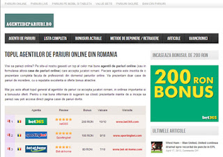 Site de prezentare al agentiilor de pariuri online