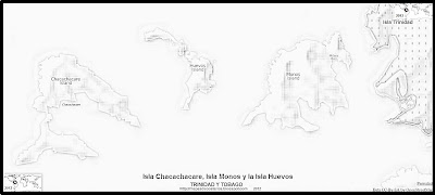 Mapa de relieve de la Isla Chacachacare, Isla Monos y la Isla Huevos, blanco y negro (Isla de Trinidad y Tobago)