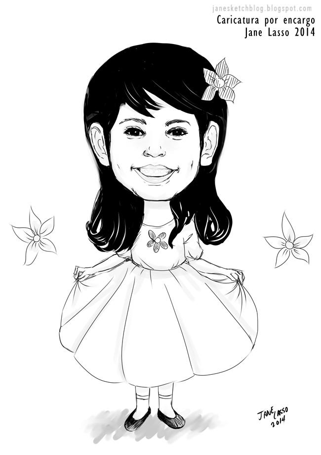 Caricatura en blanco y negro de una niña